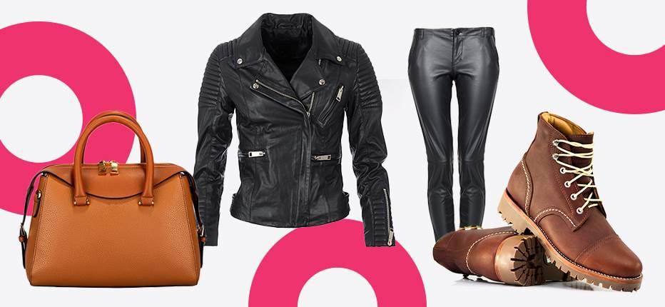 kožna braon torba crna kožna jakna crne kožne pantalone i braon cipele